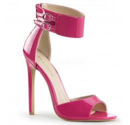 Sandali fuchsia in vernice con zip posteriore e cinturino alla caviglia, Pleaser Shoes