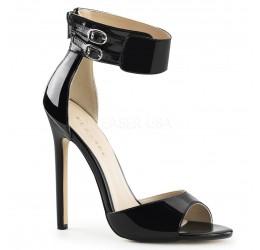 Sandali neri in vernice con zip posteriore e cinturino alla caviglia, Pleaser Shoes