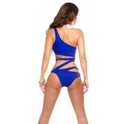 Sexy Costume intero monokini monospalla blu