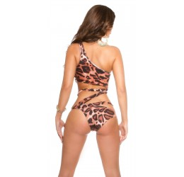 Sexy Costume intero monokini monospalla leopardato
