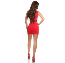 Sexy Mini abito rosso con borchiette dorate taglia unica
