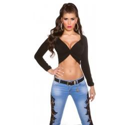 Sexy top nero corto con maniche lunghe taglia unica 40/44