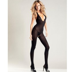 Sexy Bodystocking nera con scollo a V, apertura all' inguine
