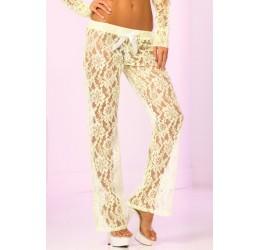 Pantaloni in pizzo bianco con filati verde lime fluorescente pl24014grn