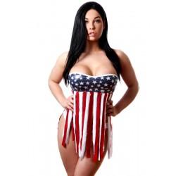 Top in lycra lucida con stampe glitter in fantasia bandiera americana, BodyZone Apparel