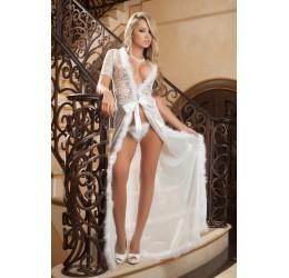 Fantastica Vestaglia lunga con rifiniture in marabou + Perizoma d1504 GWorld