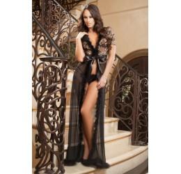 Fantastica Vestaglia lunga nera con rifiniture in marabou + Perizoma d1504 GWorld