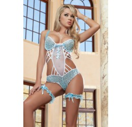 Sexy Body Bianco/Azzurro con stringhe regolabili e giarrettiere incluse GWorld