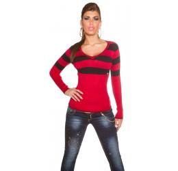 Maglietta a righe rosso e nero scollata a 'V' tg. unica 40/44