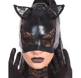 Maschera da gatta in tessuto elastico nero lucido con inserti in pizzo by Coquette