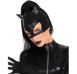 Maschera da gatta in tessuto elastico nero lucido con orecchie rivestite in pietre