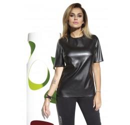'Cher' Maglietta a girocollo in similpelle nera con zip posteriore