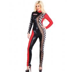 Tuta Racer in lycra elastica lucida con inserto stringato