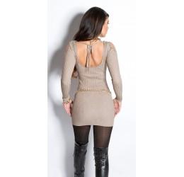 Maglioncino lungo/miniabito cappuccino con apertura sulle spalle, schiena semi scoperta
