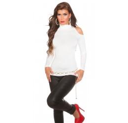 Maglietta bianca a collo alto con spalla e schiena for Bruciore alla schiena in alto