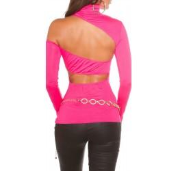 Maglietta rosa fuchsia a collo alto con spalla e schiena scoperte