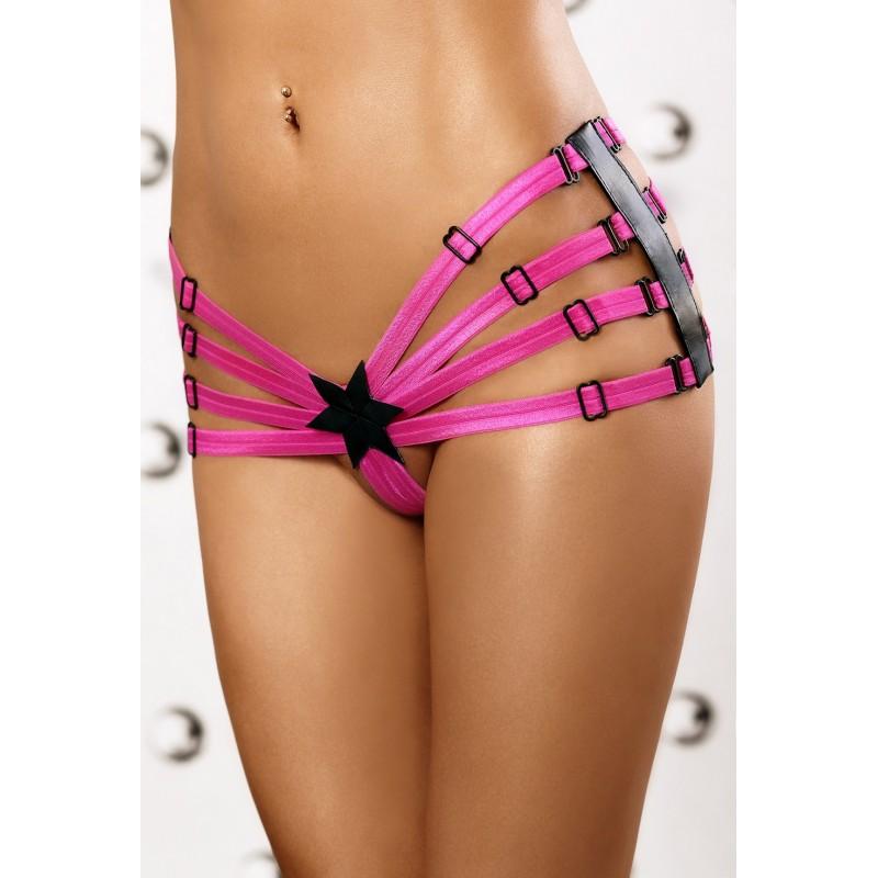 Sexy Perizoma in stringhe rosa con fasce laterali in ecopelle 'Star panty'