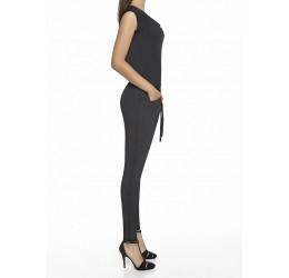 'Scarlet' Tuta Overall nera con scollatura drappeggiata e zip posteriore