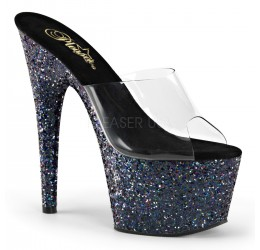 Sandali con plateau e tacco rivestiti in glitter multicolor, Pleaser USA