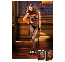 Sexy Bodystocking Nera in pizzo floreale, aperta all' inguine
