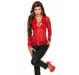 Sexy camicia rossa in pizzo e raso tg. unica 40/44