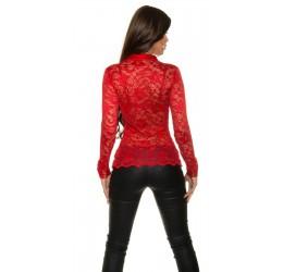 online store bcbd8 02017 Sexy camicia rossa in pizzo e raso tg. unica 40/44