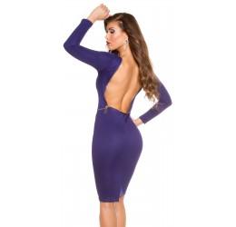 Elegante abito blu con zip dorata asimmetrica
