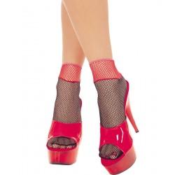 Sexy calzine nere e rosse in rete e pizzo Music Legs