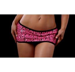 Micro Gonnellino nero rivestito con pailettes rosa neon, BodyZone