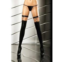 Sexy Calze Autoreggenti in tessuto nero lucido