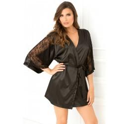 Kimono Vestaglia in morbido raso nero con maniche in pizzo + Cintura