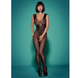 Sexy Bodystocking in rete nera con ricami, aperta all' inguine, N112 Obsessive
