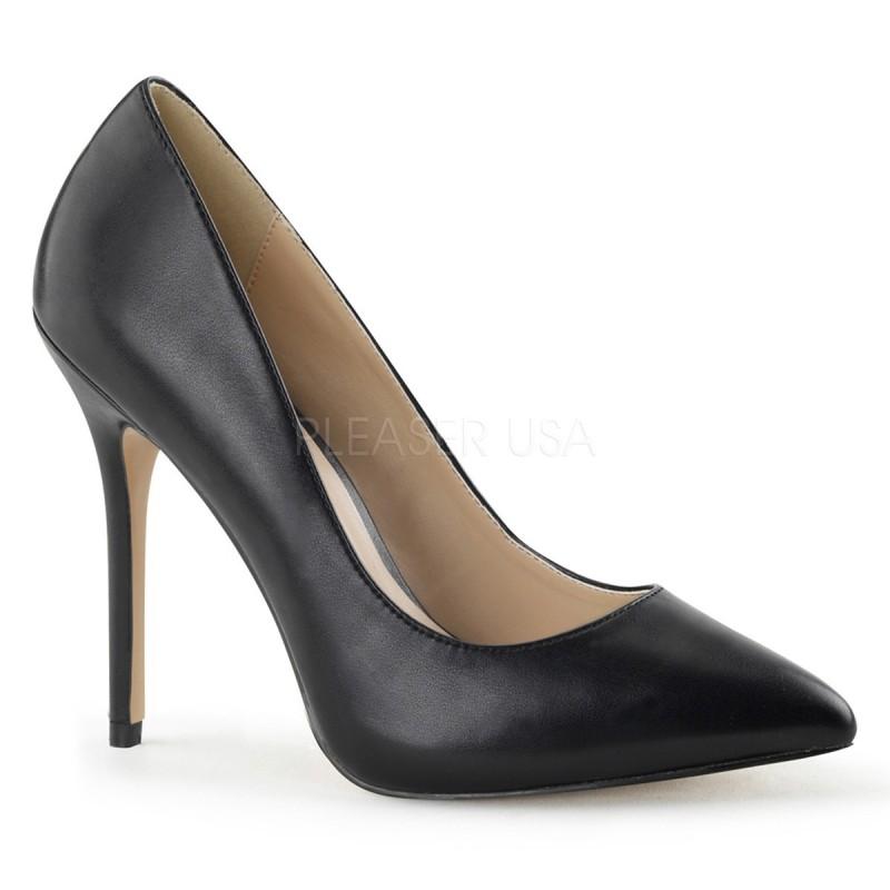 Scarpe décolleté nere in similpelle, tacco 12 cm, Pleaser USA