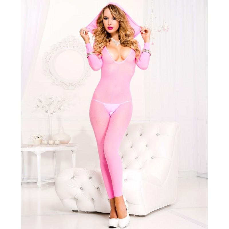 Sexy Catsuit rosa neon senza piede con cappuccio by Music legs