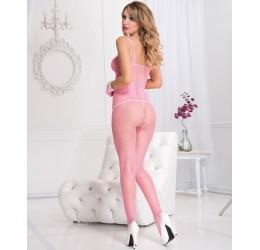 Sexy Bodystocking in rete rosa neon, aperta all' inguine