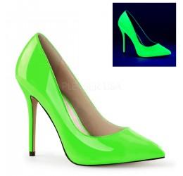 Scarpe décolleté lucide verde neon, tacco 12 cm, Pleaser USA