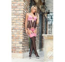 Sexy Completino nero/rosa 3 pezzi, b1424 Gworld Intimates