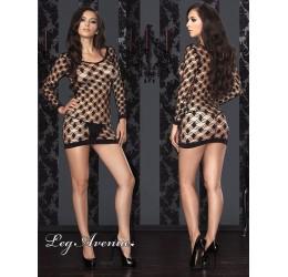 Sexy mini abito in rete a rombi colore nero la86327 Leg Avenue