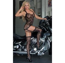 Sexy Bodystocking nera stile chemise con calze 'Crazy'