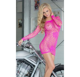 Sexy Mini abito rosa fuchsia in rete con cuori 'Sweetheart'