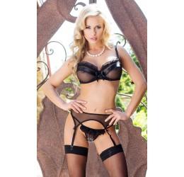 Sexy Completino nero in tulle con reggicalze 'Lucia'