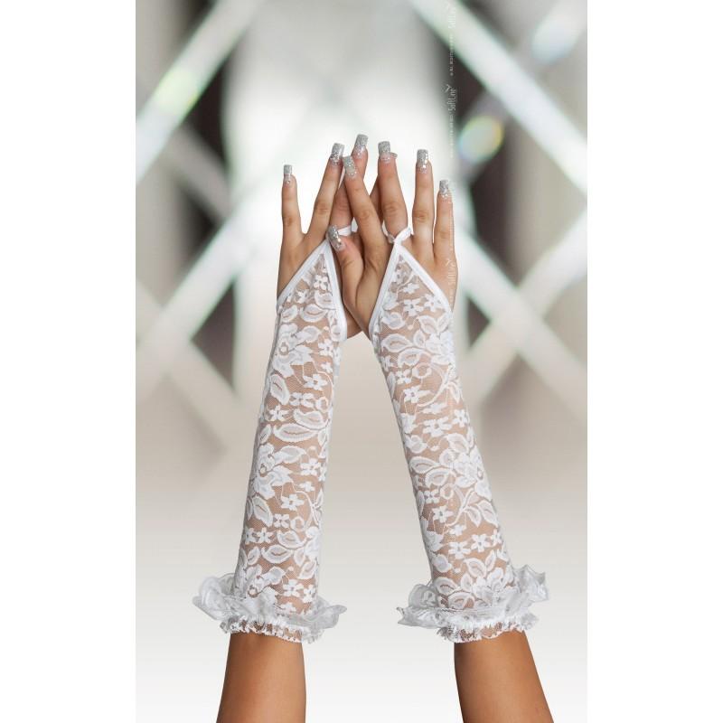 più foto il più grande sconto calzature Sexy Guanti bianchi lunghi infradito con strass da Softline ...
