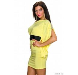 Sexy mini abito giallo monospalla con strass e cintura