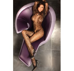 Sexy Bodystocking nera 'Abra' con ricami LivCo Fashion