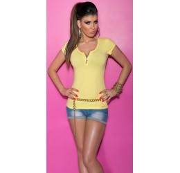 T-shirt gialla con zip e inserto in pizzo e strass