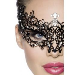Maschera metallica filigranata decorata con strass