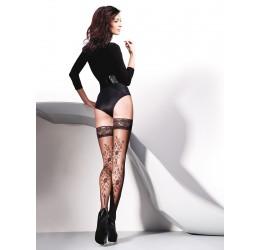 Sexy Autoreggenti nere velate con ricami 'Vera' da Gabriella