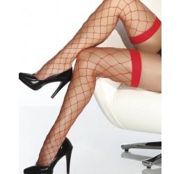 Calze autoreggenti rosse a rete con balza elastica