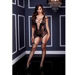 Sexy Bodystocking nera stile guepiere con calze, Baci Lingerie