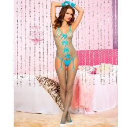 Sexy Bodystocking in rete larga turchese con aperture, Music Legs